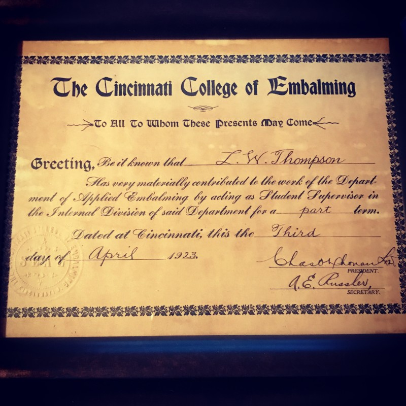 Embalming School Certificate