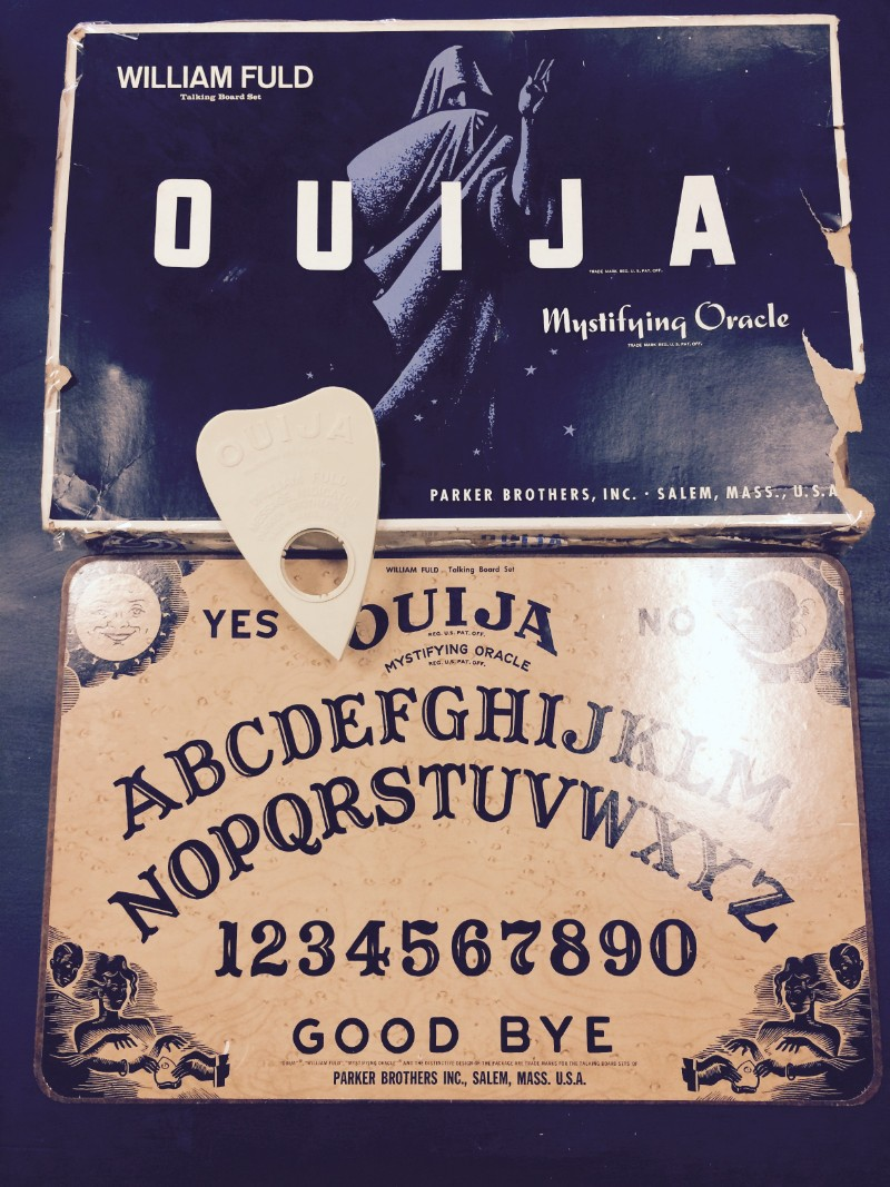 Ouija board with box at Alchemy and Ashes